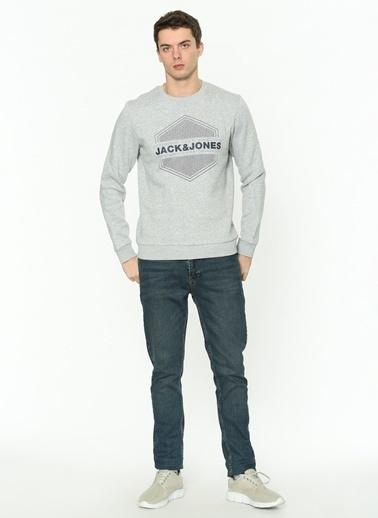 Jack & Jones Jack & Jones 12182462 Light Grey Melange Erkek Sweatshirt Gri